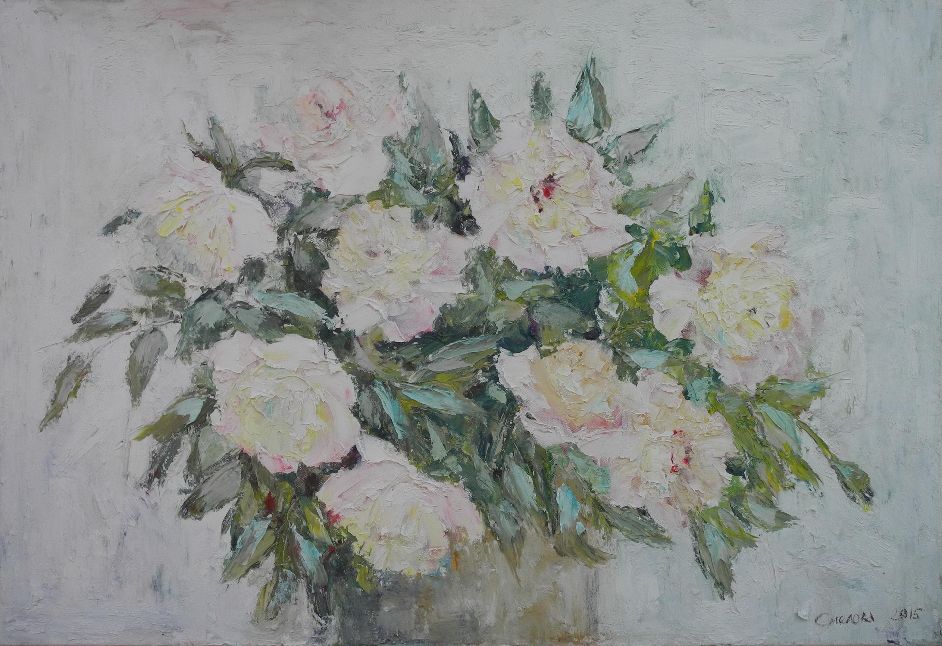 <p>Розовые пионы, 2015, 55х80</p>
