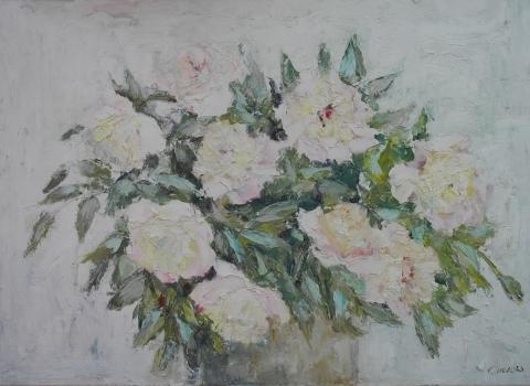 Розовые пионы, 2015, 55х80