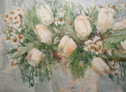 Натюрморт с белыми тюльпанами
